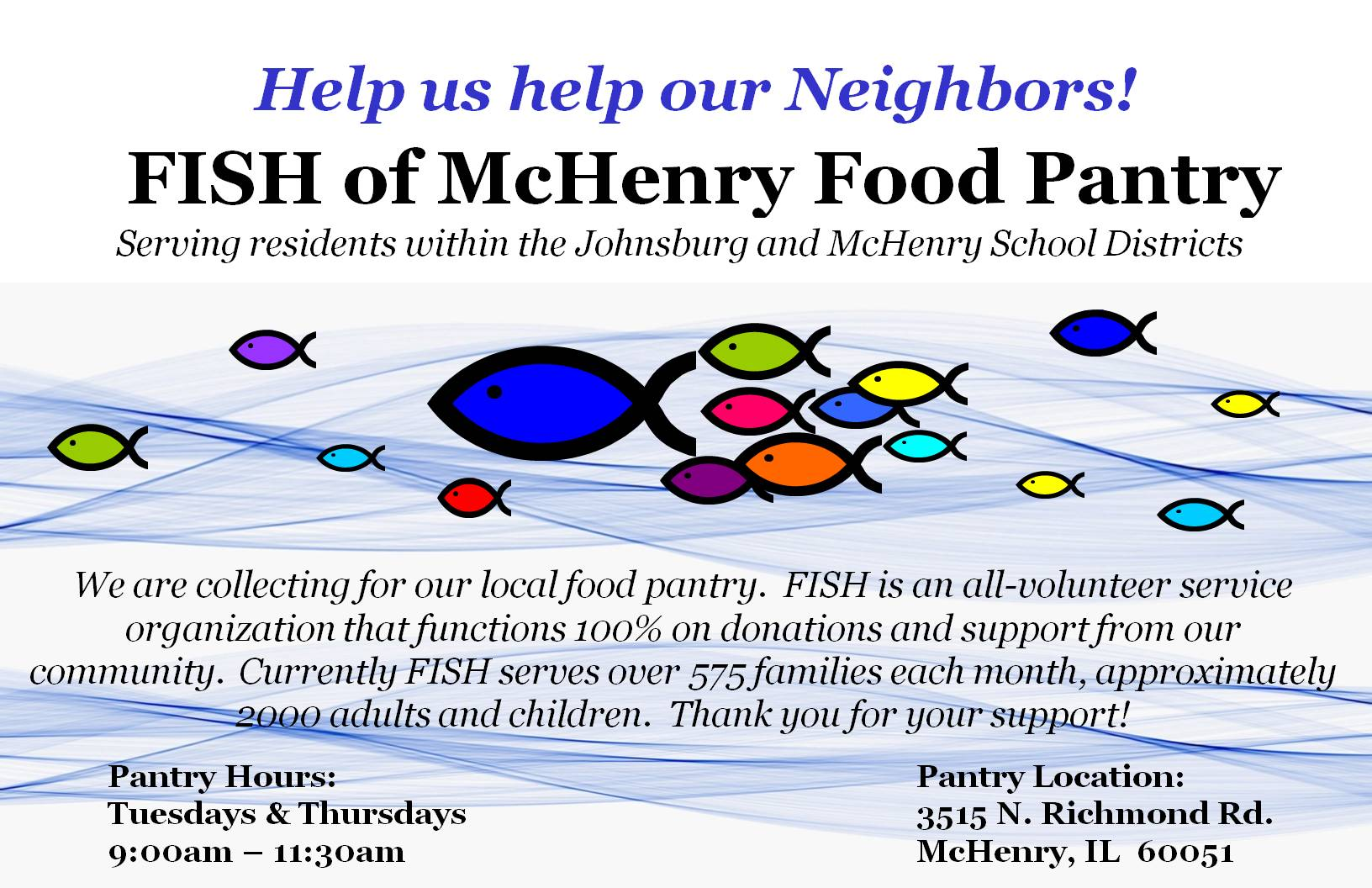 Fish fundraiser kit fish of mchenry food pantry for Fish food bank